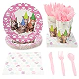 Kitten Party Supplies, Includes Plates, Napkins, Cups, and Cutlery (Serves 24, 144 Pieces)