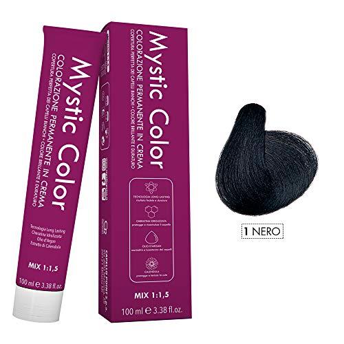 Mystic Color - Crème Colorante Permanente à l'Huile d'Argan et au Calendula - Coloration Longue Durée - Couleur Noire 1 - 100ml