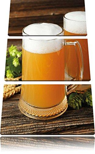 Bier malt bierglasFoto Canvas 3 deel | Maat: 120x80 cm | Wanddecoraties | Kunstdruk | Volledig gemonteerd