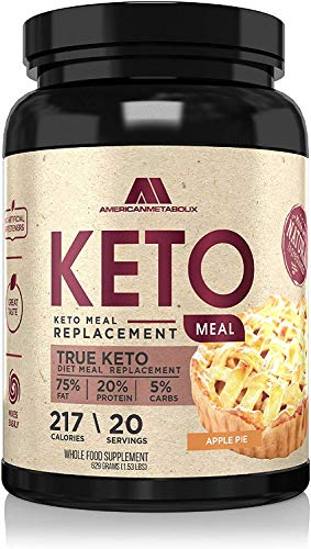 American Metabolix Keto Meal Replacement, 215 Calories, 75% F,20% p, 5% c (1.51 Pound, Apple Pie)