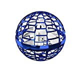 Flynova Pro Fliegendes Spielzeug, Neuheit Flying Toy Kugelform Magischer Controller Mini Drohne Flugspielzeuge Fliegender Spinner 360° Drehbare Rotierende LED Leuchten für Kinder Erwachsene (Blau)