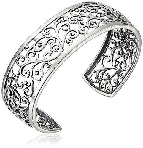 "Hot Sale Sterling Silver Filigree Cuff Bracelet, 6.5"""