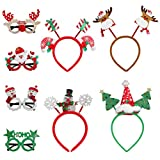 TOYANDONA 4 Pieces Christmas Headbands with 4 Pieces Christmas Glittered Glasses Photo Props Decoration Supplies for Christmas Holiday Party Favors Decorations
