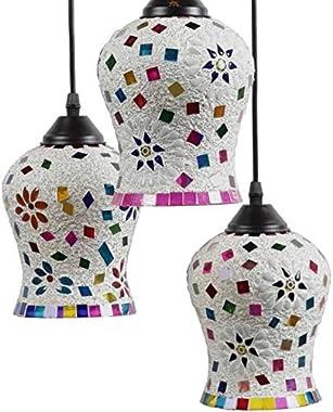PR Star Antique Mosaic Three Light Multi Color Ceiling Lamp