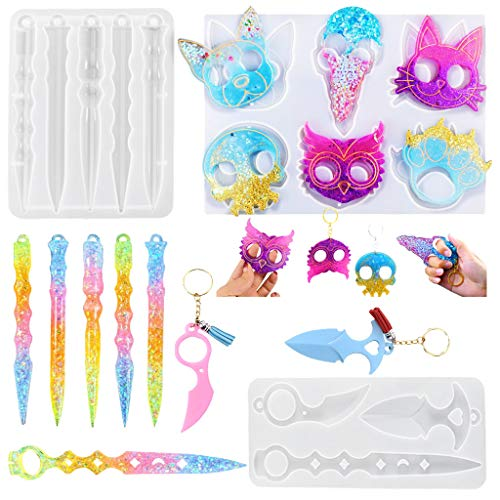 Self-Defense Keychain Resin Mold, Silicone Epoxy Casting Molds for Making Anime Keychains Ring Jewelry Pendants Crystal Crafts