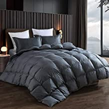 Alanzimo Goose Down Comforter King Size - All Season - Luxury 100% Cotton Hypoallergenic 1200 Thread Count 700 Fill Power with Tabs Gray (Goose Down:King Size, Grey)