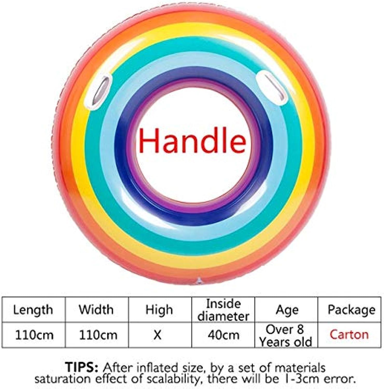 HuXwei 55 110 cm Riesen Aufblasbare Pool Float Für Erwachsene Rainbo Schwimmring Wassersport Kind Aufblasbare Kreis Spa Spielzeug, Hanld 110 cm
