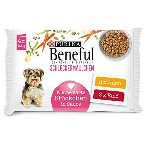 PURINA BENEFUL Schleckermäulchen Hundefutter nass in Sauce, mit Huhn & Rind, 10er Pack (10 x 4 Beutel à 100g)
