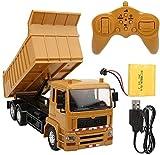 FANPING RC Truck 1:24 Top Control Remoto Dump Truck, Race Remote Control Construction Dump Truck Toy con música Ligera, Vehículos de construcción Juguetes Recargables para ni?os y ni?as