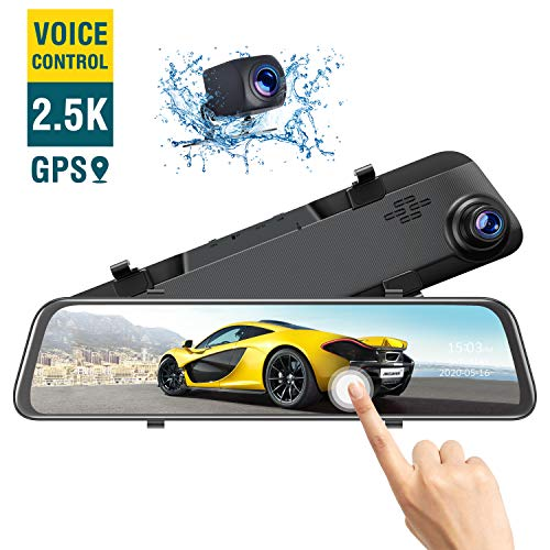"""TOGUARD 12"""" 2.5K Mirror Dash Cam Voice Control Rear View Mirror Camera, Rear Dual Lens Dash Camera and Touch Screen Front for Cars Backup Camera"""