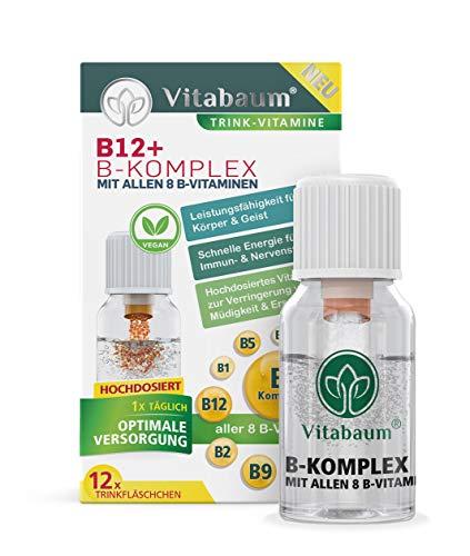 Vitabaum Vitamin B12 - B Komplex mit allen 8 B-Vitaminen, unterstützt den Energiestoffwechsel, normale Funktion des Immun- und des Nervensystems, 12 Trinkfläschchen á 10ml, Vegan