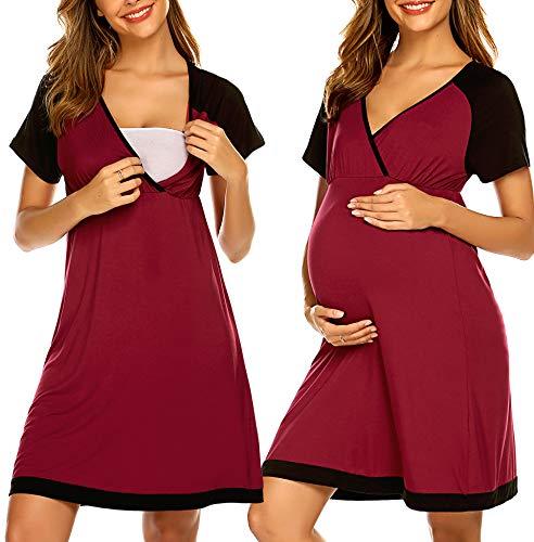 Ekouaer Women's Maternity Sleepwear for Hospital V Neck Short Slleeve Nursing Nightgown for Breastfeeding Sleepwear S-XXL (Wine Red, M)