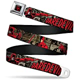 Buckle-Down Seatbelt Belt - DAREDEVIL Action Poses/Comic Panels Grays/Red - 1.5' Wide - 24-38 Inches in Length