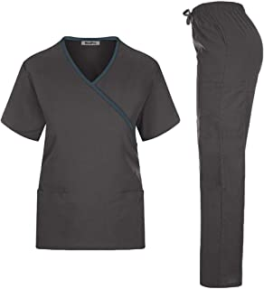 MedPro Women's Solid Medical Scrub Set Mock Wrap Top and Cargo Pants