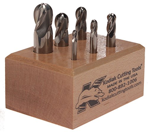 Kodiak Cutting Tools L3-OFFT-21LF USA Made Micrograin Carbide Ball Nose End Mill Set, 4 Flute, 1/8