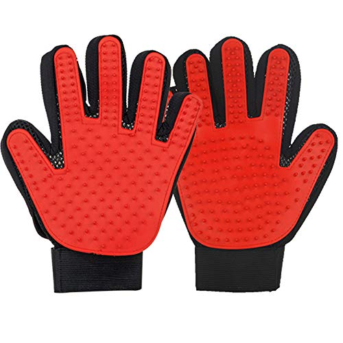Pet Grooming Glove, Pet Hair Remover Mitt Massage Tool - Furniture Pet Hair Remover Mitt - Perfect for Dogs & Cats with Long & Short Fur(A Pair),Red