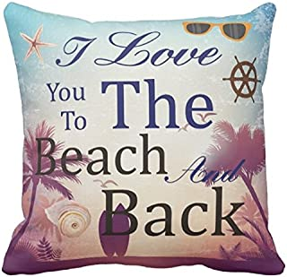 Kissenday 18X18 Inch I Love You To The Beach And Back Retro Marine Life Fun Quote Saying Cotton Polyester Decorative Home Decor Sofa Couch Desk Chair Bedroom Car Birthday Gift Square Throw Pillow Case