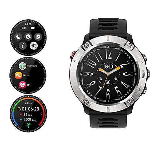COSCANA Reloj Inteligente Monitorización De La Presión Arterial del Ritmo Cardíaco Reloj Inteligente Hombres Reloj De Seguimiento Deportivo para Teléfono iOS AndroidSilver