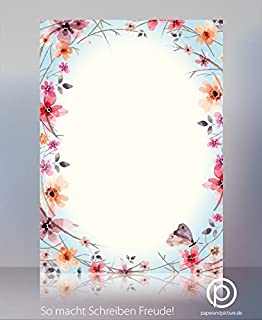 Kwiaty i motyle wiosenny papier listowy - 100 arkuszy papieru z motywem