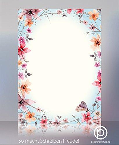 Blumen und Schmetterlinge Frühlingsreigen Briefpapier - Set mit 20 Blatt Motivpapier und 20 Briefumschlägen