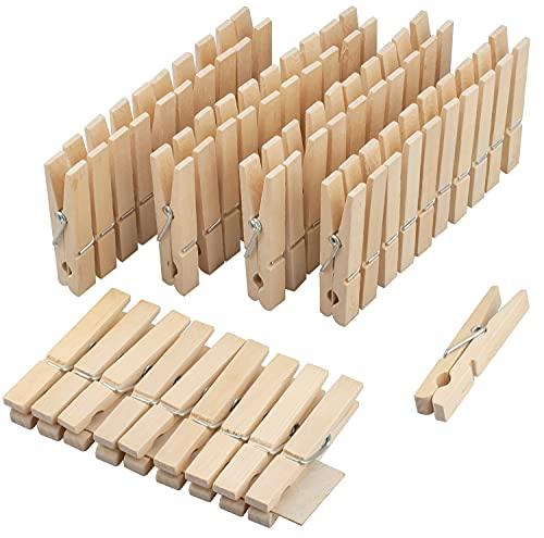 Novaliv Pinzas de madera para ropa | 50 unidades | pinzas de madera sin tratar | pinzas para tender madera | resistentes al viento | pinzas para ropa de madera | pinzas para ropa de madera grandes