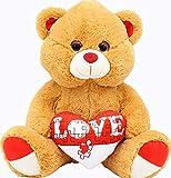 ML Oso de Peluche Ojos Brillantes Color Marron, Corazon Love Felpa Muy Suave / 40cm.Regalo para el Dia de los Enamorados