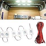 SHAMS Lampe Interieur Auto 10 LED PLAFONNIER VEHICULE DC 12V | Voiture | Camion | Camping-Car | Caravane | Bateau | Coffre | AMENAGEMENT Interieur | ECLAIRAGE | (10 Bandes DE 1 LED)