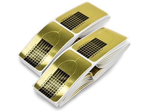 100 x MODELLIER SCHABLONEN GOLD - selbstklebend - Nageldesign Gel Modellage - Künstliche Finger-Nägel - Acryl Nagel Verlängerung