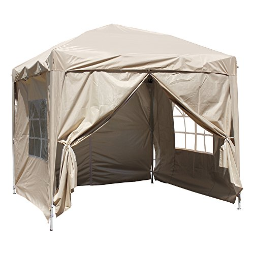 Greenbay Beige Heavy Duty Pop-up Gazebo Marquee Canopy with 4 Side Panels and Carrybag - 2.5m x 2.5m