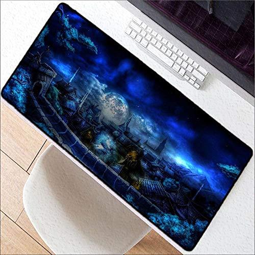 Honghuahui muismat, blauw, mooi landschap, grote maten, zwart, muismat met vergrendeling 400X700X2MM