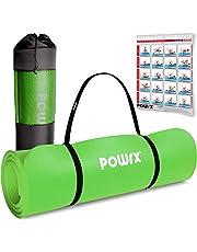 POWRX Gymnastikmatte   Yogamatte Premium inkl. Tragegurt + Tasche + Übungsposter GRATIS I Hautfreundliche Fitnessmatte TÜV Süd bestätigt Phthalatfrei 190 x 60, 80 oder 100 cm I Dicke 1.5cm oder 1cm I Farben Auswahl