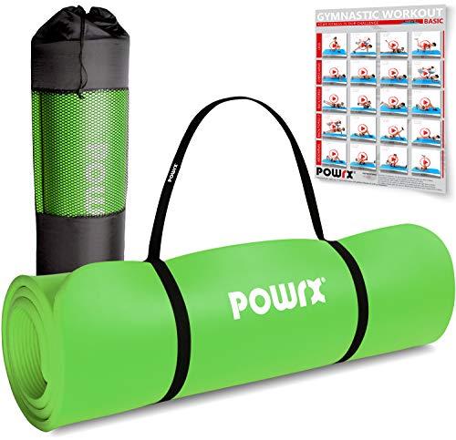POWRX Gymnastikmatte Premium inkl. Trageband + Tasche + Übungsposter GRATIS I Hautfreundliche Fitnessmatte Phthalatfrei 190 x 60, 80 oder 100 x 1.5 cm I versch. Farben Yogamatte (Grün, 190 x 60 x 1.5 cm)