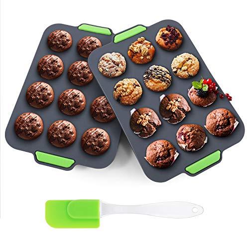 Aukiita Molde para Magdalenas Silicona,Antiadherente Cupcakes para 12 Panecillos,Fácil Limpieza Brownie Budín Latta de Mollete Muffin Bandeja para Hornear Panecillos