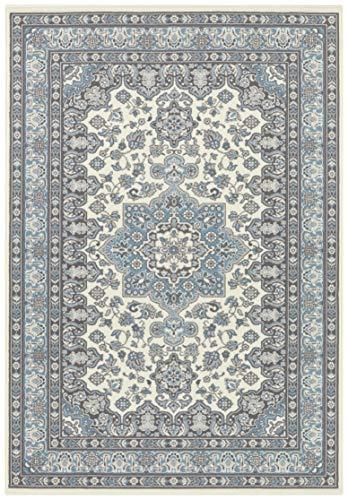 Nouristan Orientalischer Kurzflor Teppich Parun Täbriz Creme Himmelblau, 160x230 cm