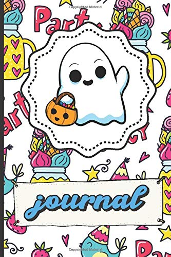 Halloween Ghost Journal: Party Time Happy Birthday Lined Notebook Blue Bird Party Hats Stars Candy Hearts Cover