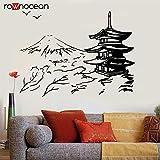wanmeidp Edificio japonés Pagoda Japón Paisaje Arte asiático Etiqueta de la Pared Oriental Vinilo Decoración del hogar Sala de Estar Etiqueta extraíble Mural 1 57x42 cm