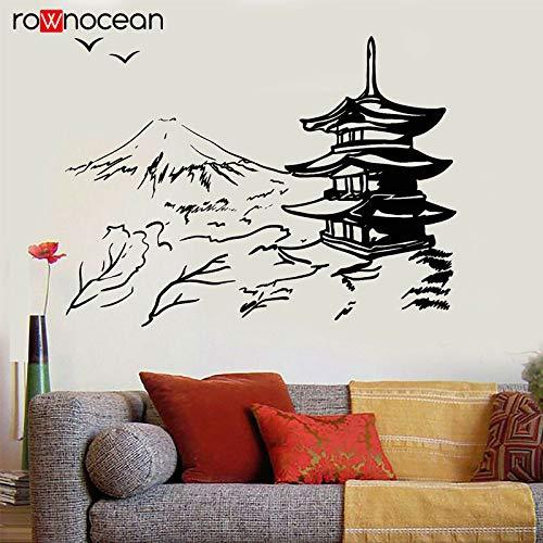 wanmeidp Edificio japonés Pagoda Japón Paisaje Arte asiático Oriental Etiqueta de la Pared Vinilo Decoración del hogar Sala de Estar Etiqueta extraíble Mural 1 77x57cm