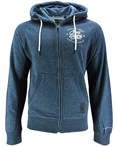 CrossHatch Herren Sweatjacke Jacke RENNON Zip Thru Kapuze Print Hoodie Sweatshirt (L, blau - Mood Indigo Marl)