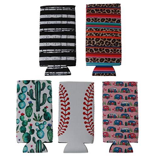 huiingwen Juego de 5 soportes para enfriador de cerveza de neopreno, diseño de rayas de cactus y arco iris, perfecto para latas delgadas de 12 onzas