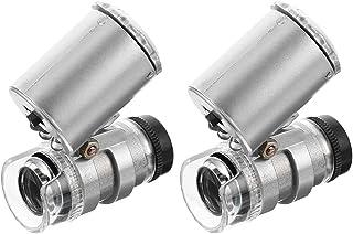Scicalife 2St Mini 60X Mikroskop Förstoring Smycken Förstoringsbärare Ögon Loupe Förstoringsglas Med LED- Belysning För Sm...