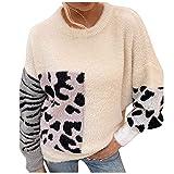 Lenfeshing Jersey de Punto de Visón de Imitación para Mujer Suéter de Cuello Redondo de Manga Larga con Estampado de Leopardo en Contraste