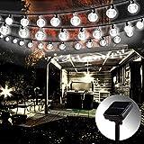 Solar Lichterkette Aussen,Mr.Twinklelight® 5.7M 42 LED Solar Lichterkette Außen, Wasserdicht Kristall Kugeln Solar Lichterkette Außen für Weihnachtsdeko Garten Terrasse Haus Party Kaltweiss