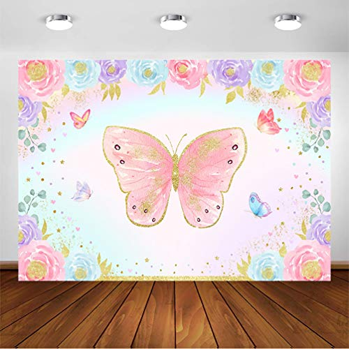 Avezano Butterfly Party Backdrop for Birthday 7x5ft Girls Fairy Butterflies Floral Princess Baby Shower Decorations Pink and Gold Butterfly Garden Tea Party Cake Table Banner Photography Background