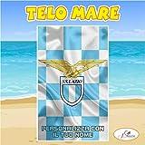 Telo Mare in spugna Lazio squadra Serie A nome personalizzato regalo estate (160cm X 200cm)