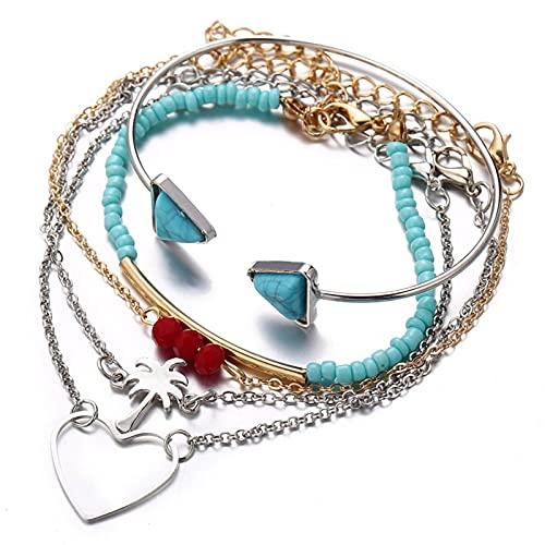 Sttiafay Pulsera con cuentas apilable, estilo bohemio, turquesa, con cadena de oro y plata, con forma de árbol de corazón, para mujeres y niñas (5 unidades)