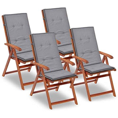 Tidyard Gartenstuhl Auflage für Hochlehner Kissen Sitzkissen Stuhlkissen Polster Stuhlauflage Sitzauflagen Sitzpolster Grau, 120x50x3cm, 4 STK.