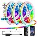 ZOLMAX LED Strip Lights, Music Led Strip Light, RGB Strip Lights Bluetooth app Controlled LED Lights Rope Lights 50FT 5050 RGB LED Light Strip(APP+Remote)
