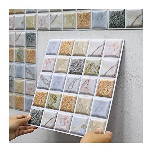 KJHJ 10 Piezas de Mosaico 3D Autoadhesivo Continuo Continuo Impermeable Etiqueta de la Pared Bricolaje Decoración para el hogar Decalos de Pared Creative Wallpaper 723