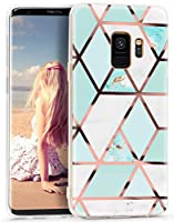 Imikoko Galaxy S9 ケース おしゃれ かわいい 衝撃 tpu 大理石 マーブル ストラップホール付き カメラ保護 耐汚れ ソフトケース (ギャラクシー s9 緑白)