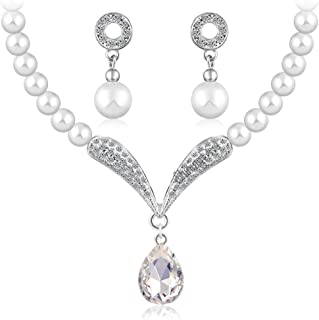 7234cfeb03 Shining Diva Fashion Crystal Pearl Necklace Set for Women/Jewellery Set  with Earrings for Women